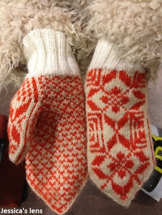 Traditional Norwegian Mitten by woman in church asylum